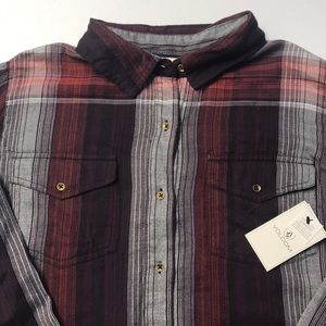 🆕 VOLCOM Womens Well Plaid Dress Purple Shirt MED